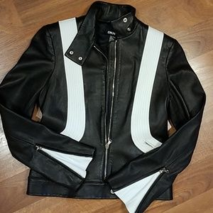 DKNY moto black with white trim leather jacket.  4